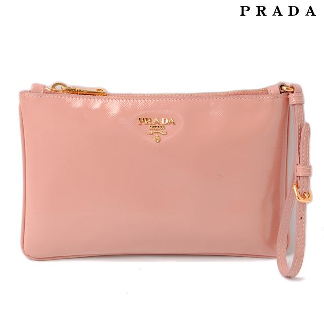Prada Clutch Bag Pouch 1n1530 Saffiano Orchidea Pink Beige Strap
