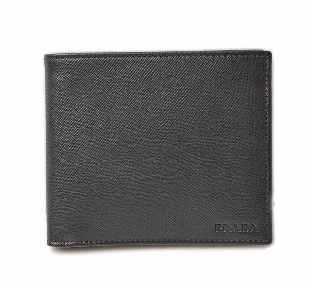 プラダ 財布 メンズ PRADA 折財布 2M0738 SAFFIANO/サフィアノ NERO/ブラック 未使用【中古】 ギフト プレゼント