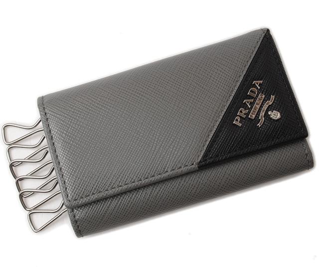 プラダ キーケース PRADA 2PG222 SAFFIANO METAL/型押しレザー MERCURIO/NERO グレー/ブラック 未使用【中古】