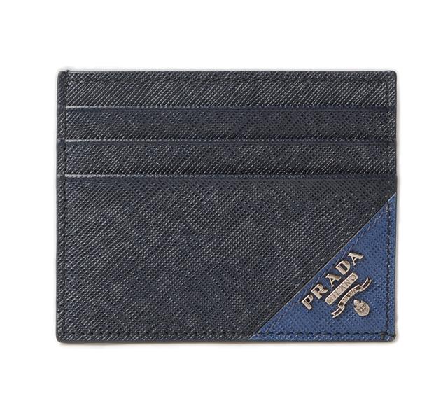 プラダ カードケース/名刺入れ PRADA 2MC223 SAFFIANO/SASSIA 型押しレザー BALTICO/BLUE ネイビー/ブルー 未使用 【中古】