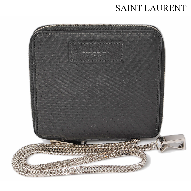 53ee43cf7456 Sanrolampari SAINT LAURENT PARIS fold wallet men s box classic Python    black 316165 EMW1N1000 wallet with chain