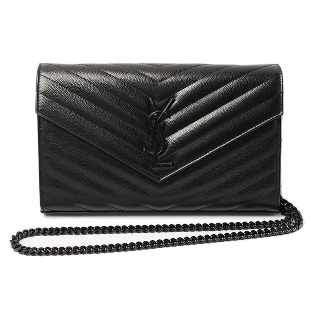 Saint Lau Chain Wallet Shoulder Bag Clutch Leather Black 377828 Bow05