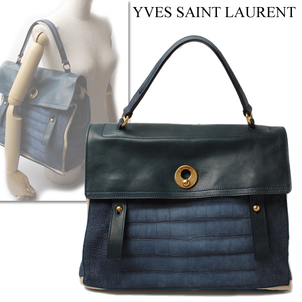 2495914b8604 YVES SAINT LAURENT Yves Saint-Laurent tote bag MUSE TWO bag navy X natural  197148  used   amrb-TK