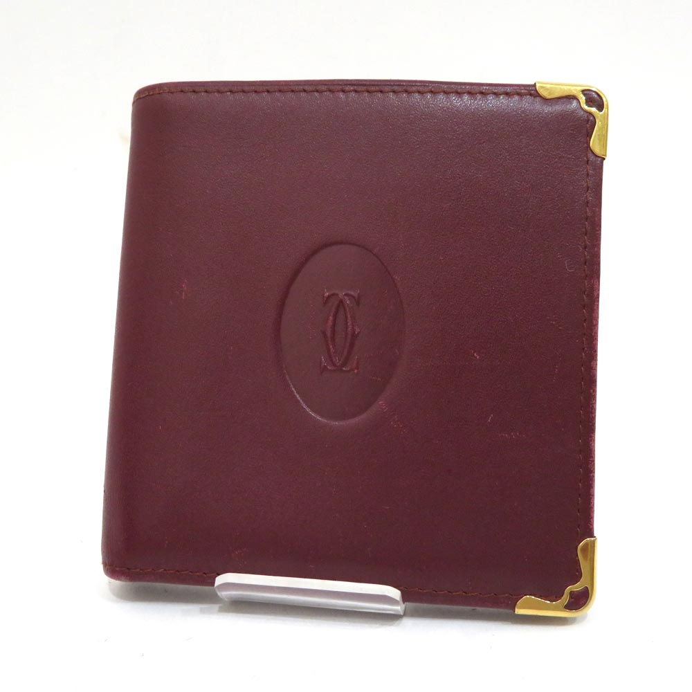 中古 カルティエ マストライン 二つ折り財布 ABランク ボルドー Cartier レディース あす楽【送料無料】【名谷店】