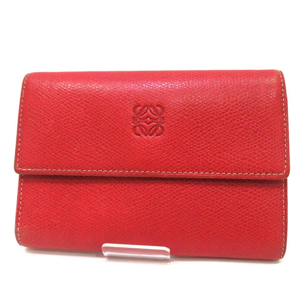 レア ロエベ 財布 二つ折り財布 レザー 赤 レッド ABランク LOEWE レディース あす楽【送料無料】【三田店】