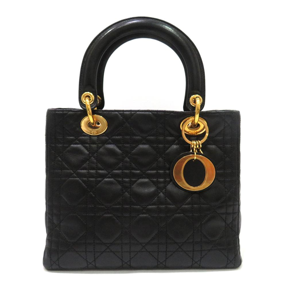 中古 ディオール バッグ レザー ABランク CAL44550 ハンド Christian Dior ブラック×ゴールド レディース あす楽 送料無料 西神店