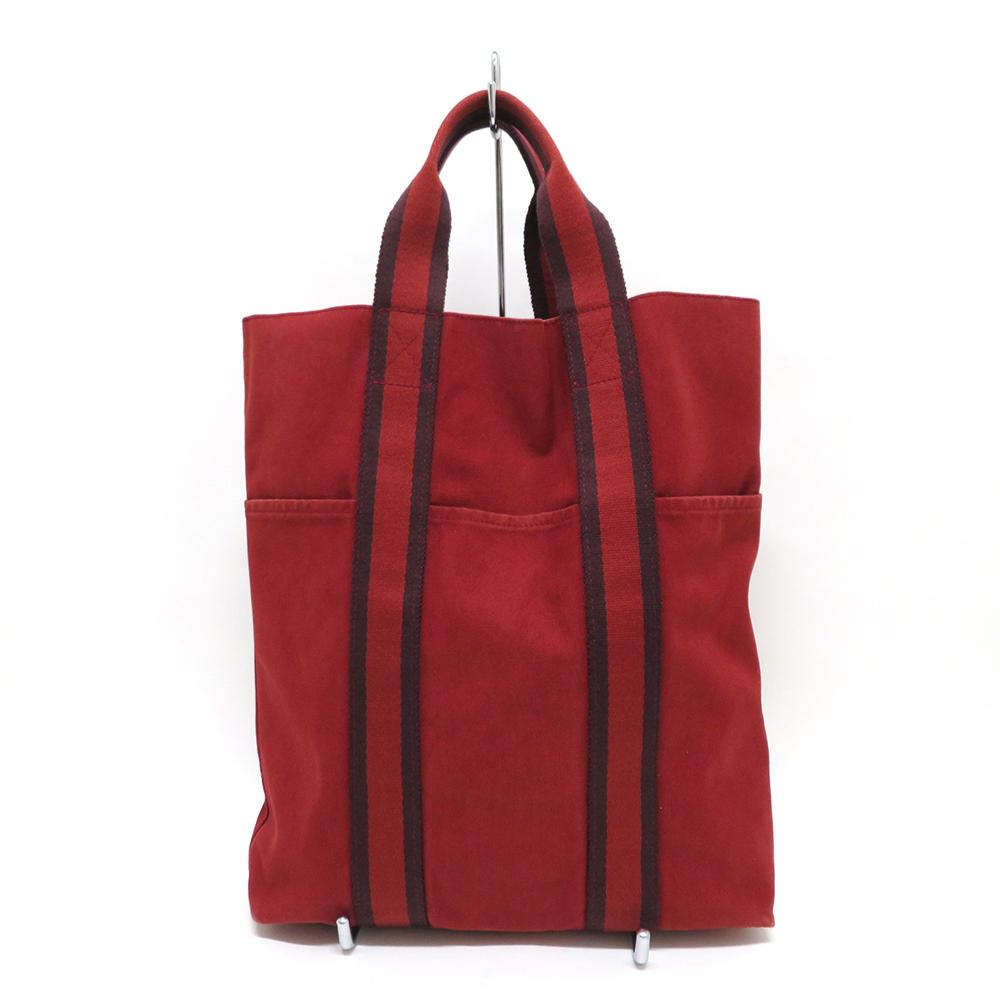 中古 エルメス バッグ フールトゥ カバス キャンバス 赤 Bランク HERMES トート あす楽【送料無料】【湊川店】