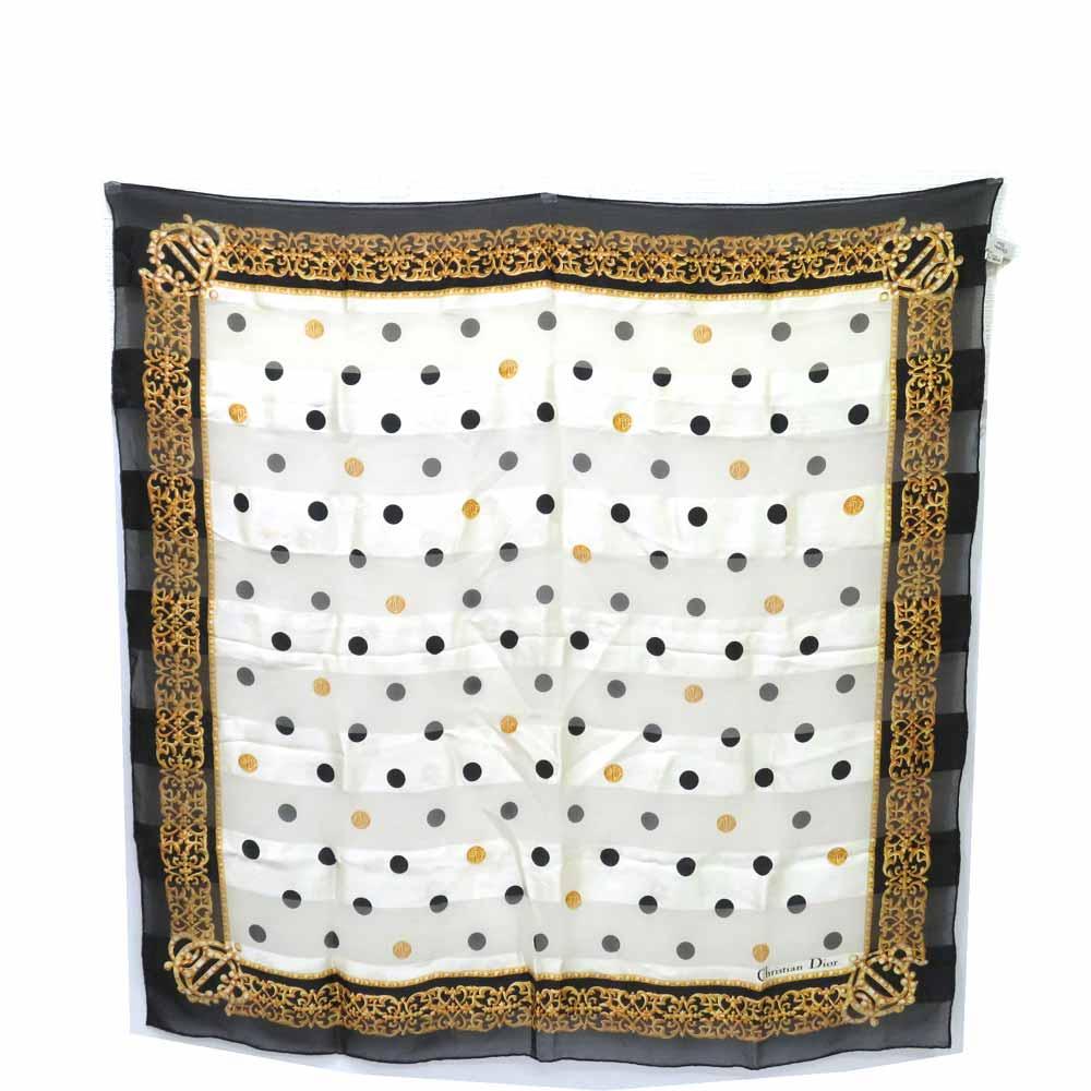 透明感のあるシルクスカーフ☆ 超特価SALE開催 中古 ディオール 小物 スカーフ 日本 ストール ドット柄 Bランク シルク Dior 送料無料 西神店 レディース あす楽