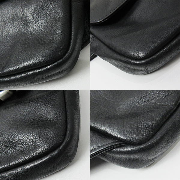 TUMI bag bum-bag body bag leather black black men 6997D トゥミショルダー AB rank