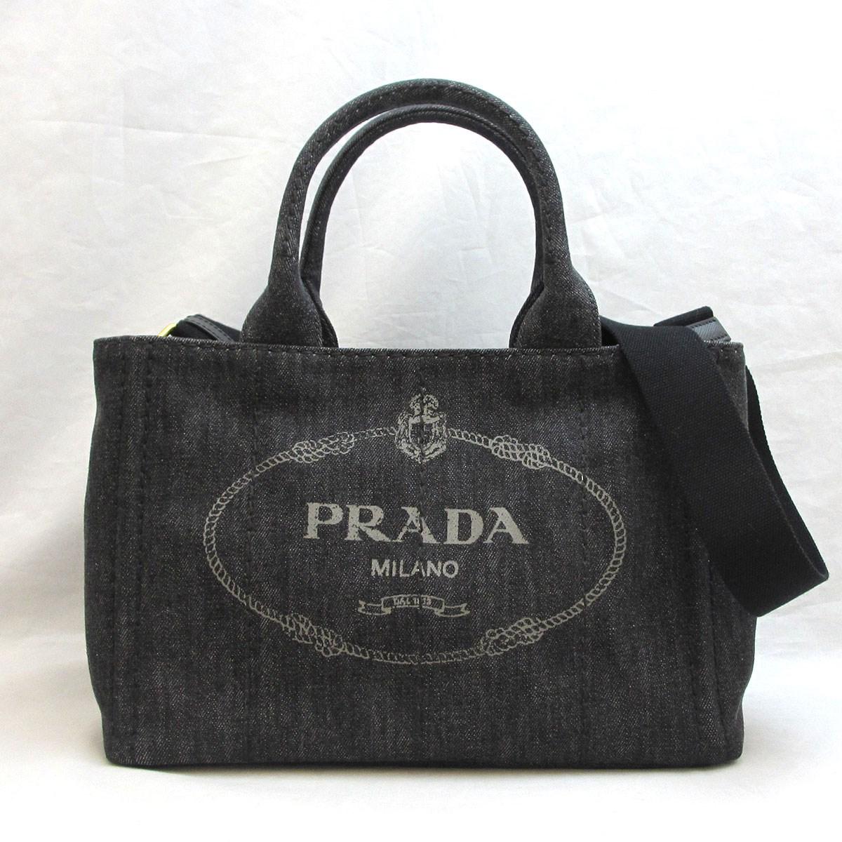プラダ バッグ カナパトートPM キャンバス ブラック系 Aランク レディース ハンドバッグ トートバッグ 1BG439 PRADA あす楽 中古 六甲道店
