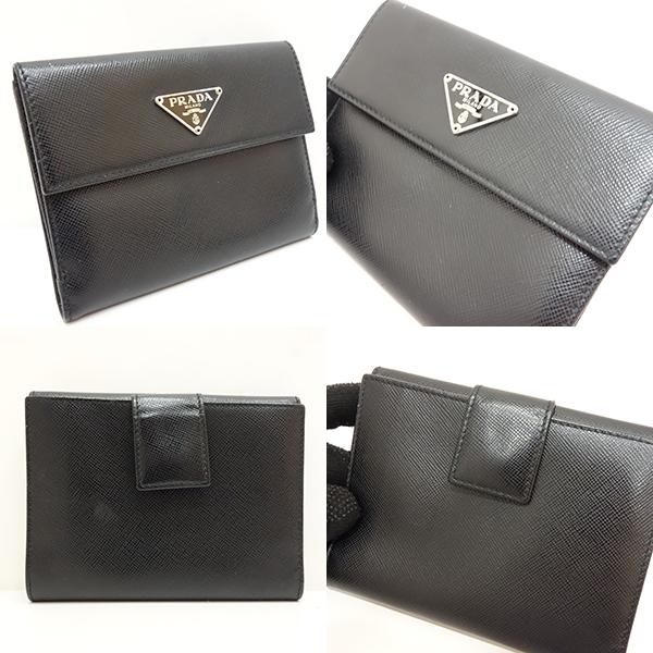 393f5b80dd49 プラダよりWホック財布が入荷しました☆中古 プラダ 財布 二つ折り Wホック 三角ロゴ サフィアーノ ネロ ブラック 黒 M523A レディース  メンズ PRADA あす ...