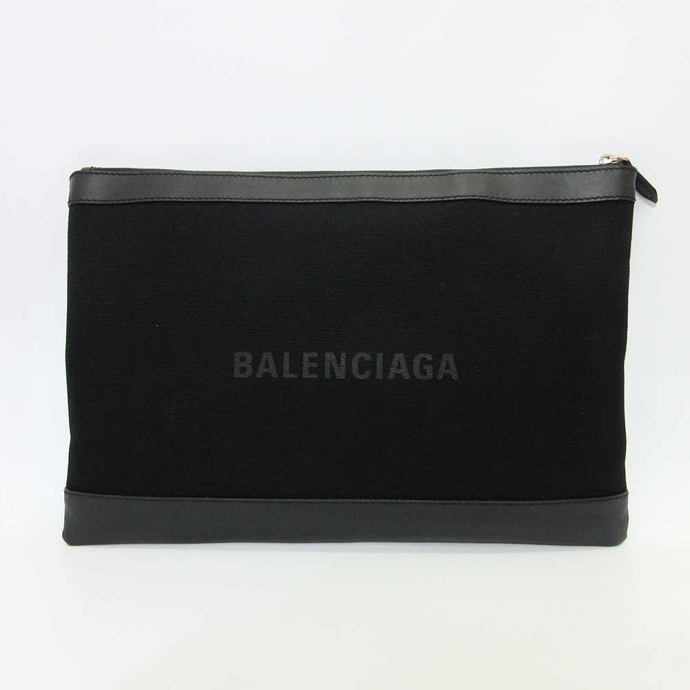 バレンシアガ ネイビークリップ L ブラック 黒 クラッチバッグ セカンドバッグ メンズ レディース キャンバス×レザー BALENCIAGA 中古【宝塚店】