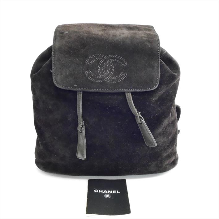 CHANEL Chanel here mark suede rucksack suede Lady s bag backpack rucksack 1f85b21fabaf