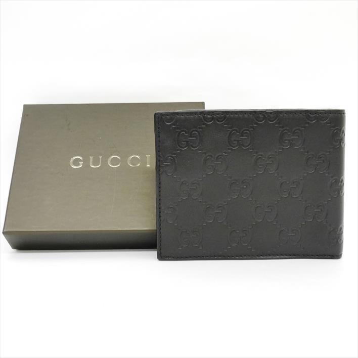 872aa9a699ba 【ほぼ新品】GUCCIグッチグッチシマ146226ロゴレザーメンズ財布二つ折り財布(