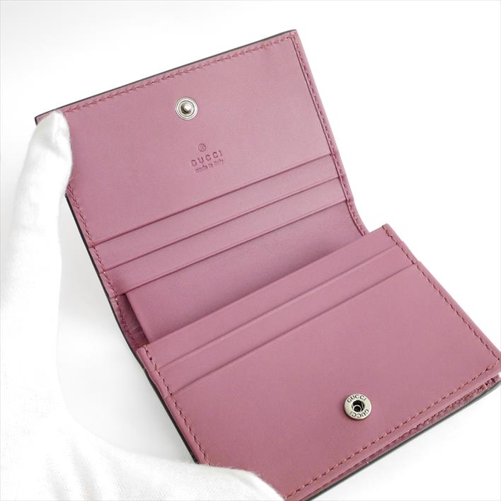 4c60b76bee7 410088 GUCCI Gucci flower GG card case GG bloom GG スプリームキャンバス X leather  Lady s wallet folio wallets (there is no coin purse)