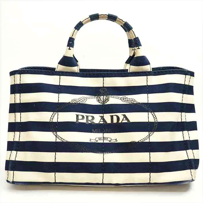 44d8cafc1429 PRADA plastic Dacca Napa horizontal stripes B2642B canvas Lady s tote bag