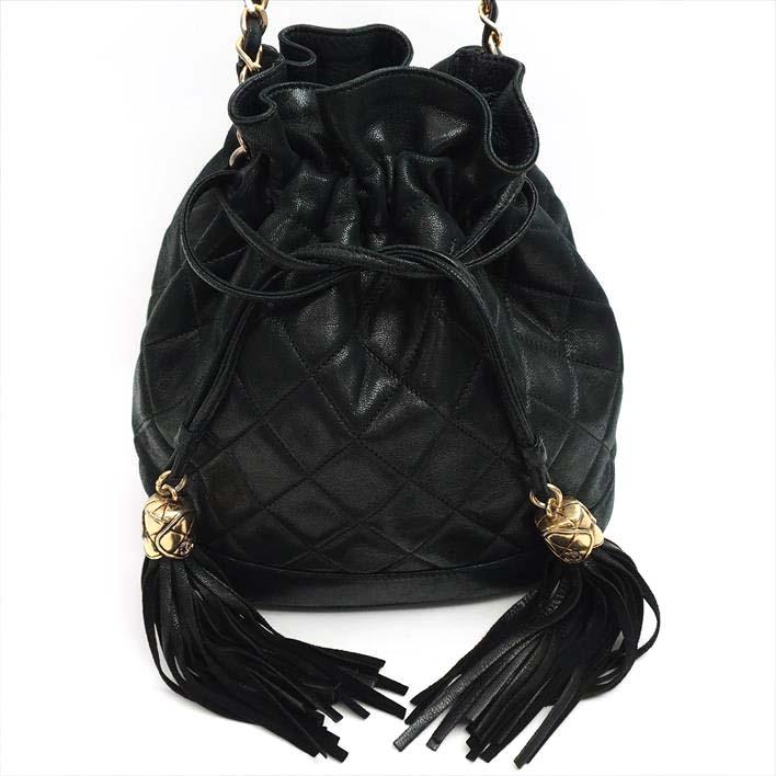 1ae318e541 CHANEL Chanel drawstring purse double fringe tassel matelasse lambskin  Lady's bag shoulder bag ...