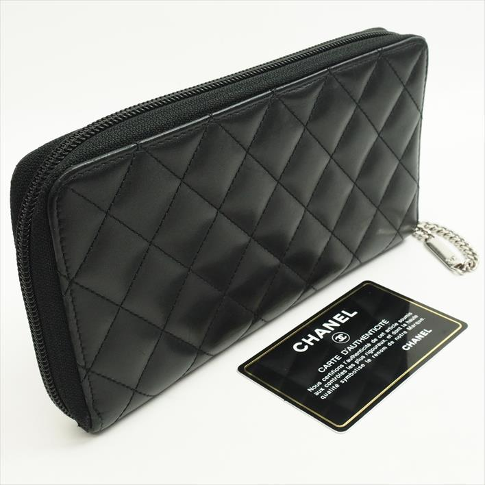 efa8f7071beb ... CHANEL Chanel round zip Cambon A50078 calfskin Lady's long wallet (there  is a coin purse ...