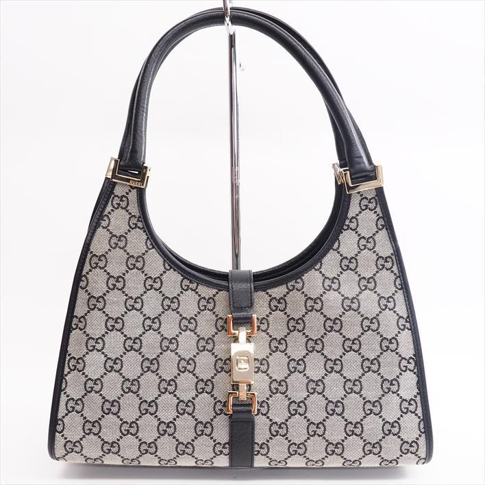 Gucci Jackie Gg Canvas 01719 2123 X Leather Lady S Handbag