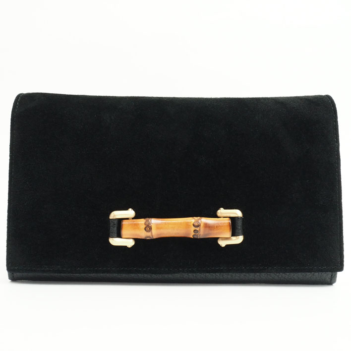 f310e9c445b73b GUCCI Gucci pouch flap type bamboo suede X leather Lady's long wallet gift  present ...