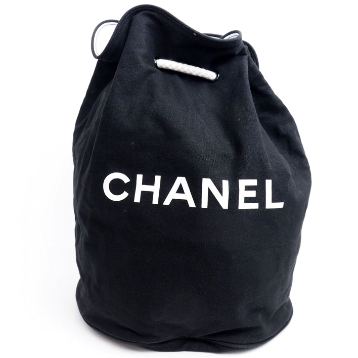 b5b1d5167ee5d9 CHANEL Chanel round shape drawstring purse type drum type one shoulder bag  novelty canvas (inside vinyl) Lady's shoulder bag
