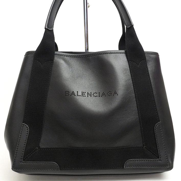 【美品】バレンシアガ ロゴパンチング ネイビーカバS 339933・1000・C・002123 【トートバッグ】【中古】