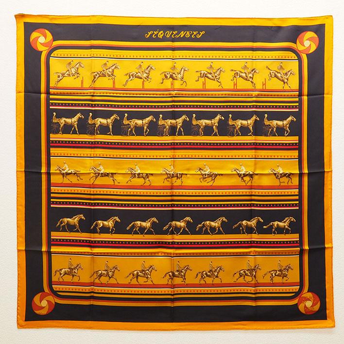 【中古】【ほぼ新品】エルメス latham 馬柄 カレ90 レディーススカーフ【小物・雑貨】