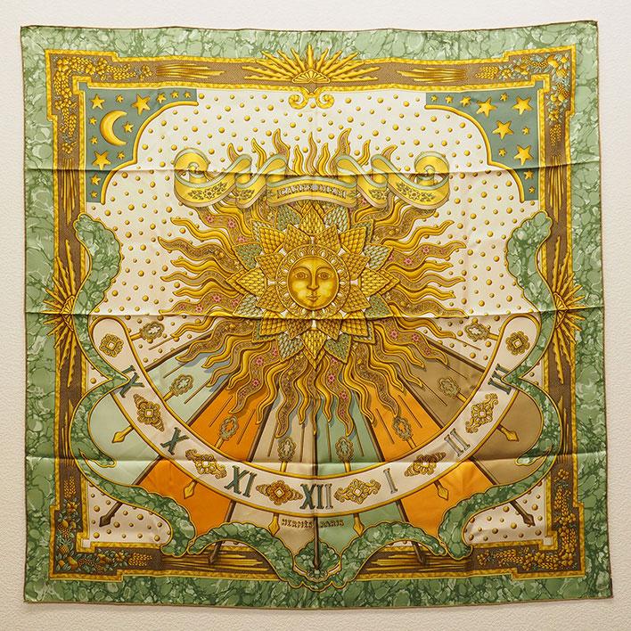 【中古】【美品】エルメス 「CARPE DIEM」今日一日を楽しむ 太陽柄 カレ90 レディーススカーフ【小物・雑貨】