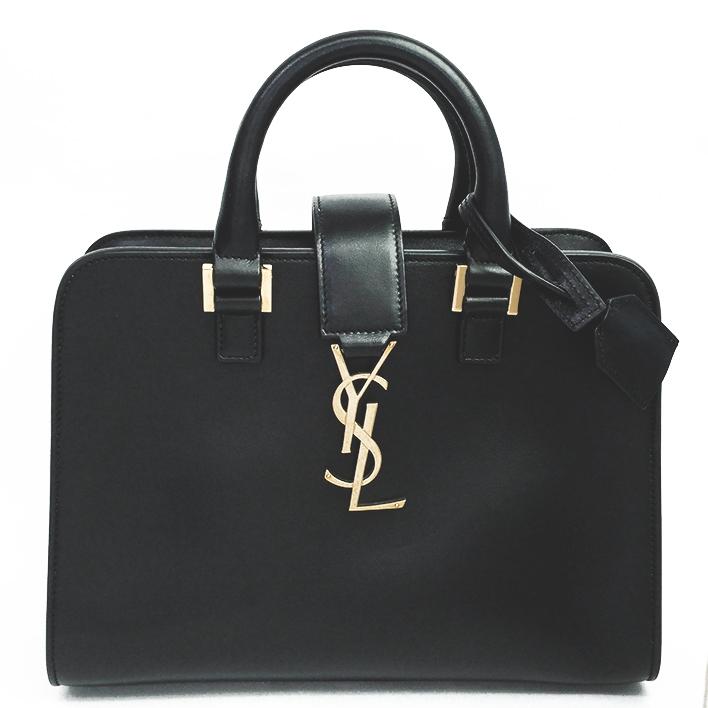 イヴ サンローラン ハンドバッグ ベイビーカバス 472466 レザー ブラック 黒色 2WAY YSLロゴ ゴールド金具 ショルダーバッグ Yves Saint Laurent ブランド 美品 中古 送料無料