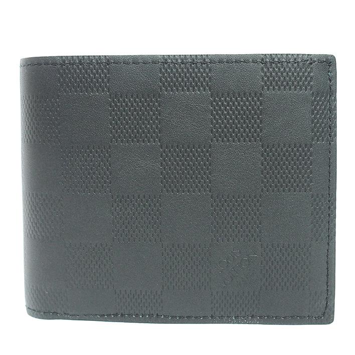 ルイヴィトン 二つ折り財布 ポルトフォイユ・マルコ NM ダミエ・アンフィニ N63334 カラー ブラック ブランド LOUIS VUITTON ギフト プレゼント 新品同様 送料無料 中古