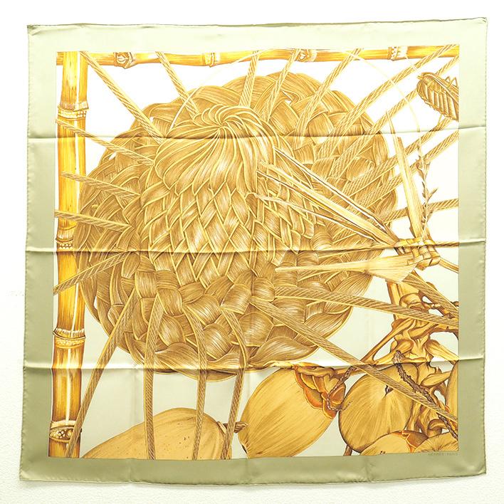 【中古】エルメス 「Jardin Creole」 クレオルの楽園 カレ90 レディーススカーフ【小物・雑貨】【GOODA掲載】【新品同様】