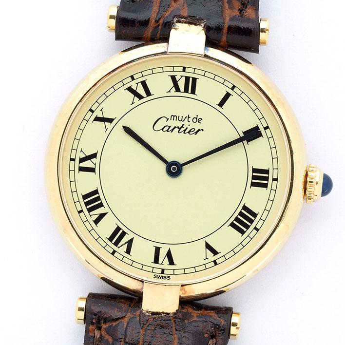 【中古】カルティエ マスト ヴァンドーム(VLC) ヴェルメイユ レディース Cartier must VENDOME(VLC) VERMEIL【腕時計】 ギフト プレゼント