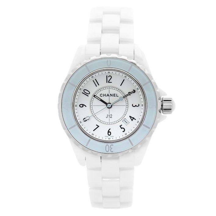 シャネル CHANEL J12 33mm レディース 腕時計 H4464 ホワイト セラミック デイト クォーツ 電池 ウォッチ 【中古】