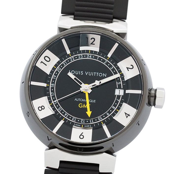 【中古】ルイヴィトン タンブール イン ブラック オートマティック GMT Ref. Q113K0 メンズ LOUIS VUITTON TAMBOUR IN BLACK AUTOMATIC GMT【腕時計】