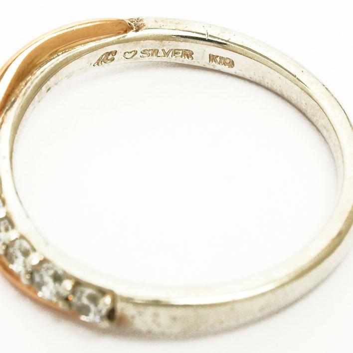 ヨンドシー ダイヤ風ジェム ジェム クロスデザイン リング シルバー 10金ピンクゴールド 10号 指輪GOODA掲載L5j4AR