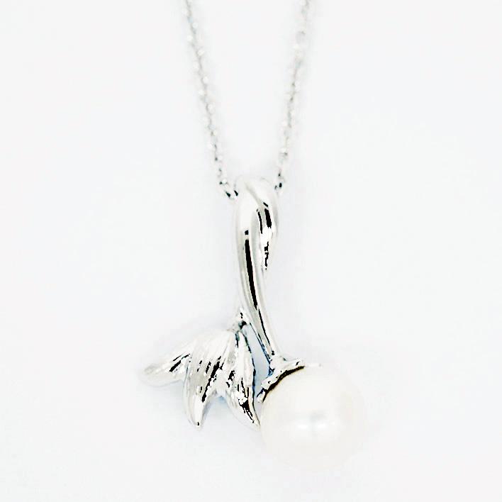 【中古】タサキ 1P本真珠 チューリップ ボタニカルモチーフ シルバー【ペンダント】【GOODA掲載】
