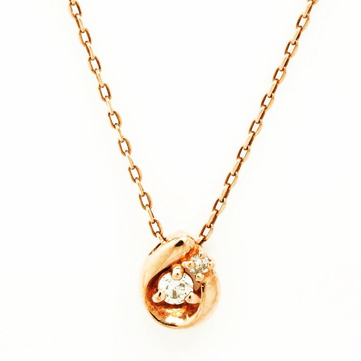 【中古】カナルヨンドシー 2Pダイヤモンド しずくモチーフ 10金ピンクゴールド【ペンダント】【GOODA掲載】