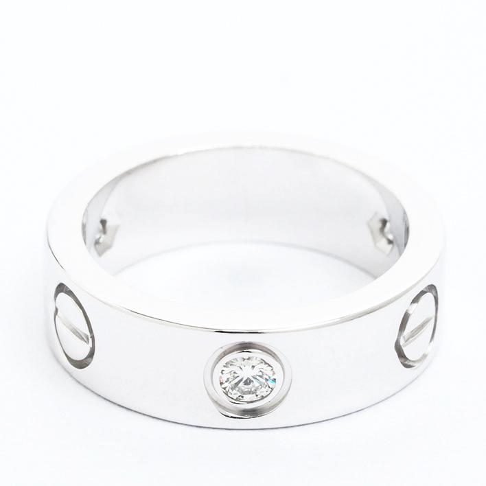 【中古】カルティエ 3P ダイヤモンド ラブリング 18金ホワイトゴールド 49【指輪】【GOODA掲載】【新品仕上げ済み】
