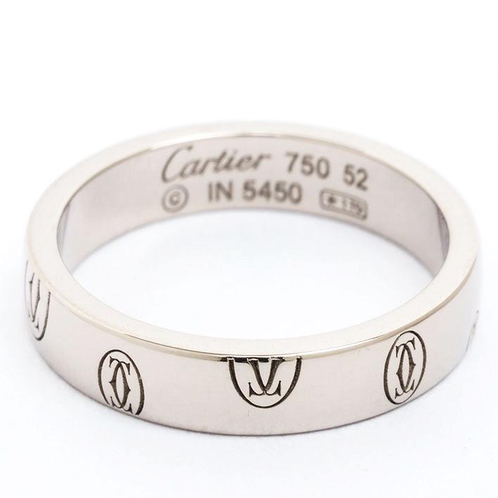 【中古】カルティエ ハッピーバースデイ ロゴリング 18金ホワイトゴールド 52【指輪】【GOODA掲載】【新品仕上げ済み】