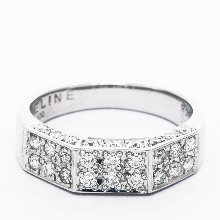 【中古】セリーヌ パヴェダイヤモンド シークレットルビー リング プラチナ900 12号【指輪】【GOODA掲載】【新品仕上げ済み】