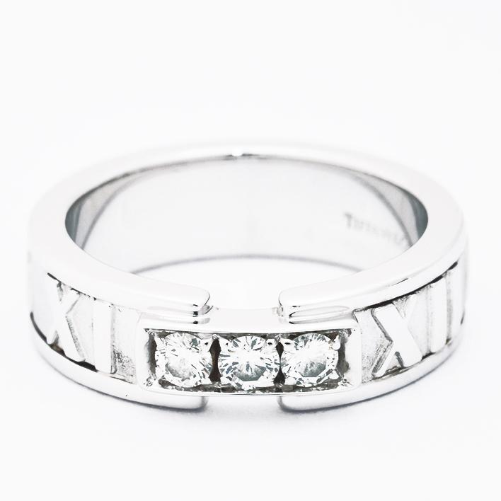 【中古】ティファニー アトラス 3P ダイヤモンド 18金ホワイトゴールド 9号【指輪】【GOODA掲載】【新品仕上げ済み】