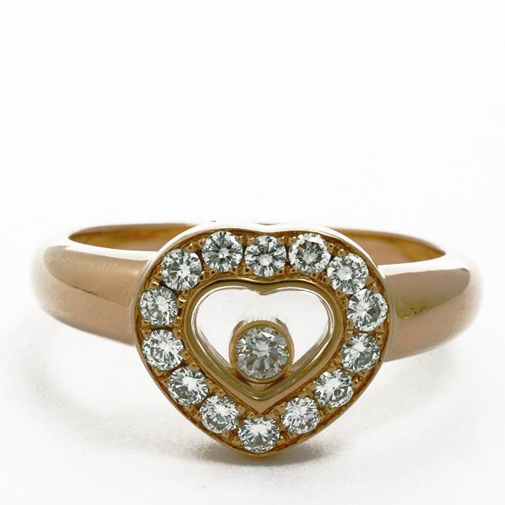 【中古】ショパール ハッピーダイヤモンド アイコンリング 18金イエローゴールド 9号【指輪】【GOODA掲載】【新品仕上げ済み】