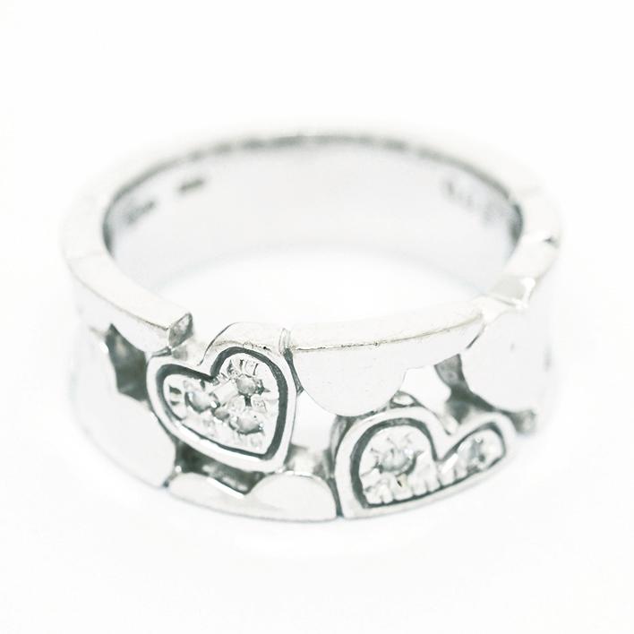 【中古】スタージュエリー 透かしハート パヴェダイヤモンド リング 18金ホワイトゴールド 6.5号【指輪】【GOODA掲載】
