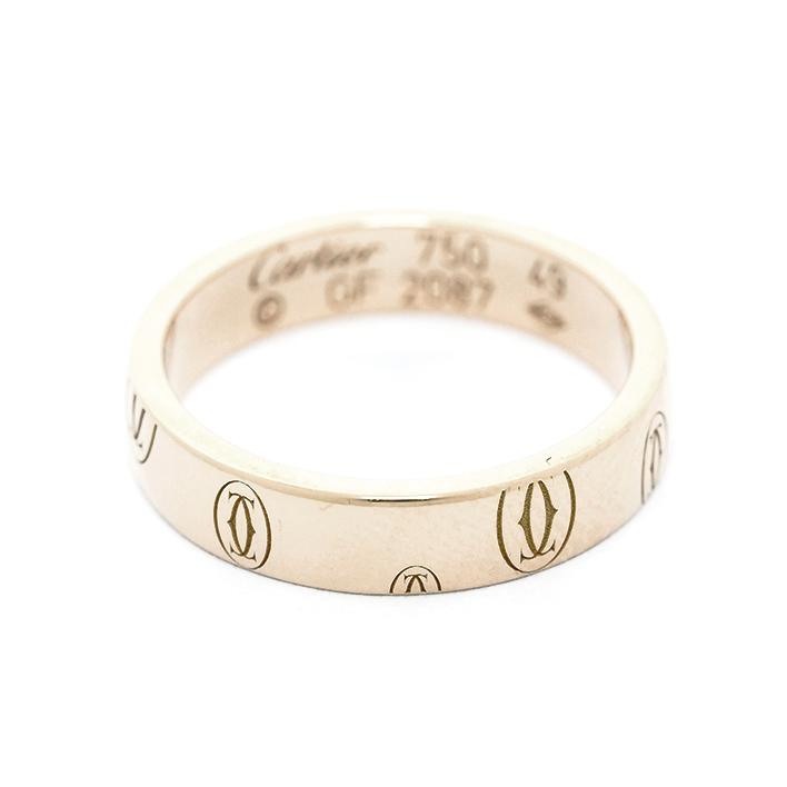 【中古】カルティエ ロゴカルティエリング 18金ピンクゴールド 49【指輪】【GOODA掲載】【新品仕上げ済み】