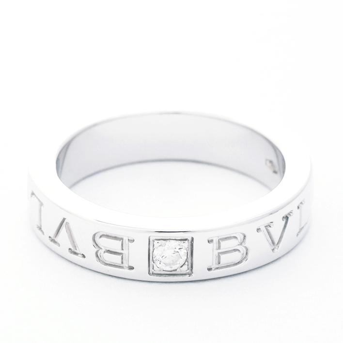 【中古】ブルガリ ブルガリブルガリ 1P ダイヤモンドリング 18金ホワイトゴールド 7号【指輪】【GOODA掲載】【新品仕上げ済み】