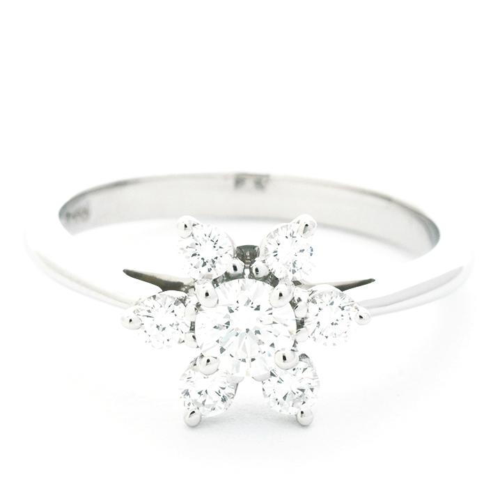 【中古】ティファニー フラワーモチーフ ダイヤモンドリング プラチナ950 8号【指輪】【GOODA掲載】【新品仕上げ済み】
