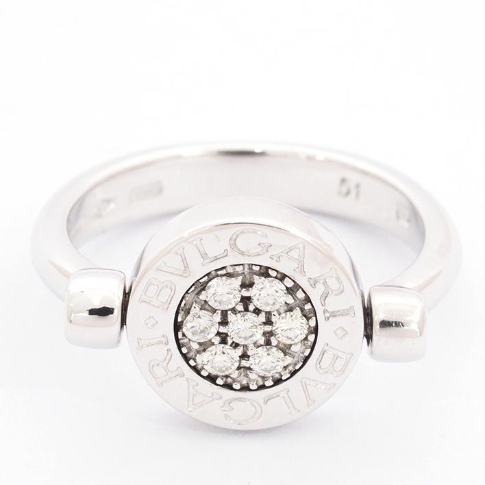 【新品仕上げ済み】ブルガリ ブルガリブルガリ フリップリング パヴェダイヤ 18金ホワイトゴールド 51【指輪】