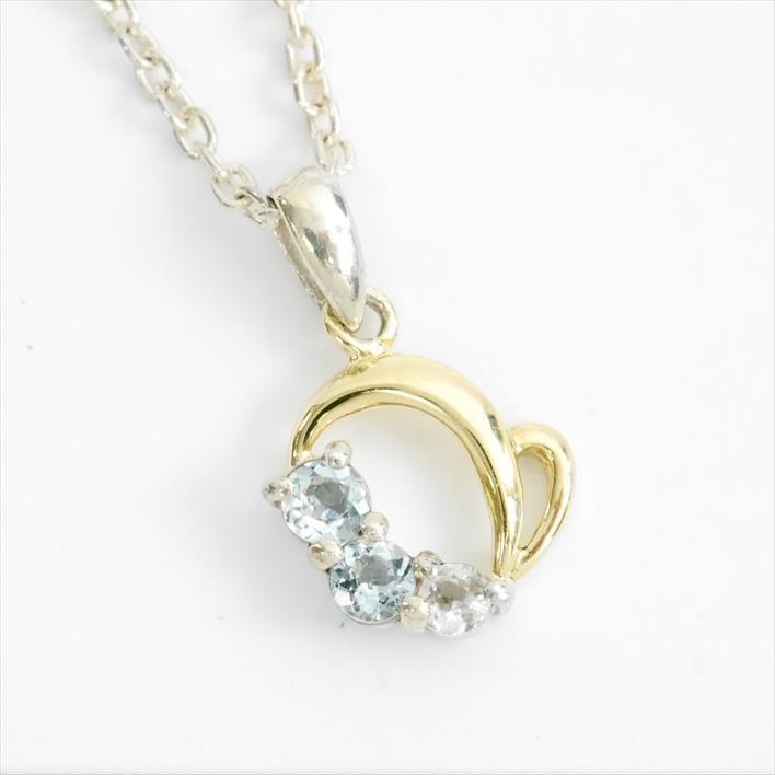 【中古】courreges クレージュ ハートモチーフネックレス 2Pブルーダイヤモンド 1Pダイヤモンド SV925/K18 ギフト ギフト プレゼント【GOODA掲載】