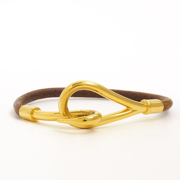 【中古】エルメス ジャンボ ブレスレット ブラウン×ゴールドカラー【ブレスレット】ギフト プレゼント【GOODA掲載】