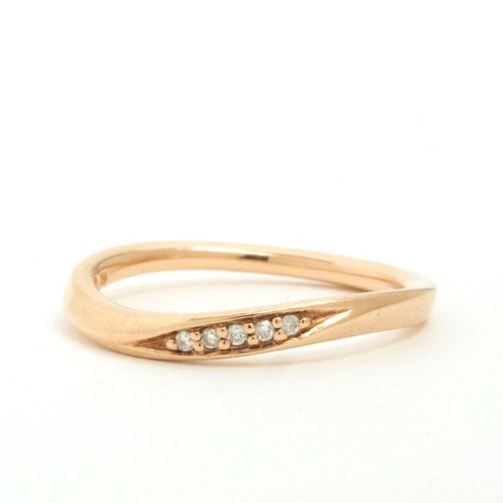 【中古】ヨンドシー 5Pダイヤモンド 石付き ウェーブデザイン リング K10ピンクゴールド 8号【リング】ギフト プレゼント【GOODA掲載】